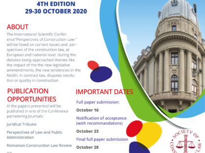 "Conferința Internațională ""Perspectives of Construction Law"" ediția a – IV- a"
