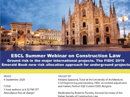The fourth ESCL Summer Webinar is on 9 September 2020 from 6.30-7.30 PM CET.