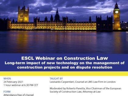 Primul webinar European Society of Construction Law din 2021