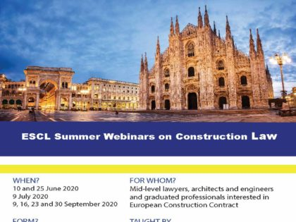 ESCL – Summer Webinars on Construction Law